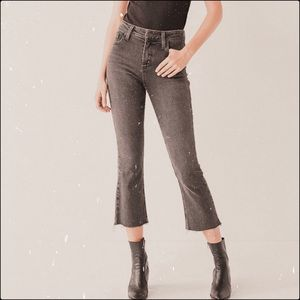 Abercrombie high rise cropped flare dark wash jean